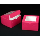 "1836 - 7"" x 7"" x 4"" Pink/White with Window, Lock & Tab Box With Lid"