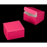 "3244 - 7"" x 7"" x 4"" Pink/White without Window, Lock & Tab Box With Lid"