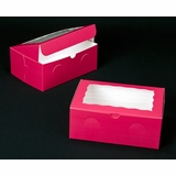 "2266 - 10"" x 7"" x 4"" Pink/White with Window, Lock & Tab Box With Lid"