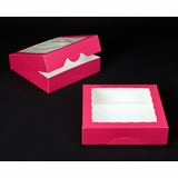 "2856 - 10"" x 10"" x 2 1/2"" Pink/White with Window, Timesaver Box With Lid"