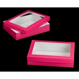"1871x1835 - 19"" x 14"" x 4"" Pink/White Two Piece Lock & Tab Box Set, with Window, 50 COUNT"