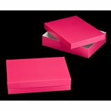 "1871x3245 - 19"" x 14"" x 4"" Pink/White Two Piece Lock & Tab Box Set, without Window, 50 COUNT"