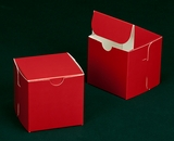 "2910 - 4"" x 4"" x 4"" Red/White without Window, Lock & Tab Box With Lid. B09"