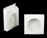 "3123 - 4 3/8"" x 4 3/8"" x 1"" White/White with Round Window Reverse Tuck Box. B03"