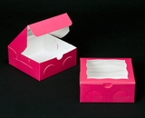 "2097 - 6"" x 6"" x 2 1/2"" Pink/White with Window, Lock & Tab Box With Lid. A09"