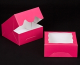 "2854 - 6"" x 6"" x 2 1/2"" Pink/White with Window, Timesaver Box With Lid. A10"