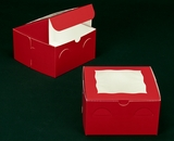 "2853 - 7"" x 7"" x 4"" Red/White with Window, Lock & Tab Box With Lid"