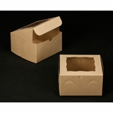 "2103 - 7"" x 7"" x 4"" Brown/Brown with Window, Lock & Tab Box With Lid"