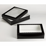 "3232x3233 - 19"" x 14"" x 4"" Black/White Two Piece Lock & Tab Box Set, with Window"