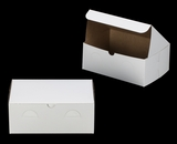 "3383 - 10"" x 7"" x 4"" White/Brown without Window, Lock & Tab Box With Lid. A26"