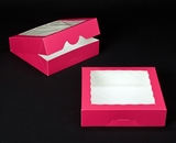 "2856 - 10"" x 10"" x 2 1/2"" Pink/White with Window, Timesaver Box With Lid. A23"