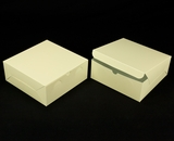 "2920 - 10"" x 10"" x 4"" Butter Cream/White without Window, Lock & Tab Box With Lid"