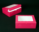 "2118 - 12"" x 9"" x 4"" Pink/White with Window, Lock & Tab Box With Lid. A25"