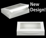 "1856 - 14"" x 10"" x 2 1/2"" White/White with Window, Lock & Tab Box With Lid"