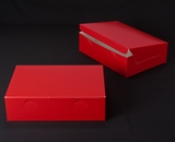 "2925 - 14"" x 10"" x 4"" Red/White without Window, Lock & Tab Box With Lid. A35"