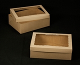 "2401x2102 - 19"" x 14"" x 6"" Brown/Brown Lock & Tab Box With Lid, with Window"