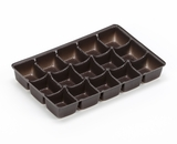 "3362 - 7"" x 4 1/2"" x 7/8"" Chocolate Brown 15 Cavity Candy Tray"