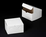 "1204 - 7"" x 7"" x 4"" White/Brown without Window, Lock & Tab Box With Lid"