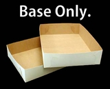 "292 - 19"" x 14"" x 4"" White/Brown Lock & Tab Box Base Only, 50 COUNT"