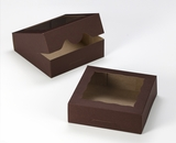 "3357 - 8"" x 8"" x 2 1/2"" Chocolate Brown/Brown with Window, Timesaver Box With Lid. A15"