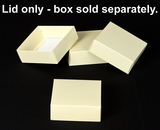 "2907 - 4"" x 4"" x 1 1/2"" Butter Cream/White Simplex Lid Without Window. B04"