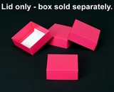 "2877 - 4"" x 4"" x 1 1/2"" Pink/White Simplex Lid Without Window. B04"