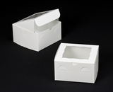 "1867 - 7"" x 7"" x 4"" White/White with Window, Lock & Tab Box with Lid"