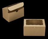 "3145 - 6 1/4"" x 4"" x 3 1/2"" Brown/Brown with Window, Lock & Tab Box With Lid"
