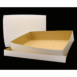 "292x291 - 19"" x 14"" x 4""  White/Brown Lock & Tab Box Set, without Window, 50 COUNT"