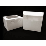 "932 - 8"" x 8"" x 5"" White/White with Window, Lock & Tab Box With Lid"