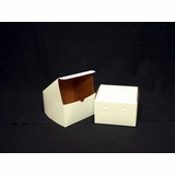 "1212 - 8"" x 8"" x 5"" White/Brown without Window, Lock & Tab Box With Lid"
