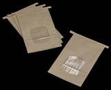 3266 - 2 LB Kraft/Poly Tin Tie Window Bag 6 x 2 3/4 x 9 1/2 - 100ct