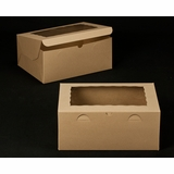"2393 - 14"" x 10"" x 6"" Brown/Brown with Window, Lock & Tab Box With Lid 50 COUNT"