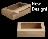 "2441 - 10"" x 7"" x 2 1/2"" Brown/Brown with Window, Lock & Tab Box with Lid. A15"