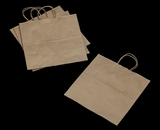 3248 - JR Mart Kraft Shopping Bag with Handle 13 x 7 x 13 - 100ct. A14