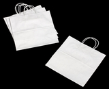 3249 - JR Mart White Shopping Bag with Handle 13 x 7 x 13 - 100ct. A14