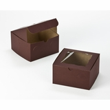 "3042 - 7"" x 7"" x 4"" Chocolate/Brown with Window, Lock & Tab Box With Lid"
