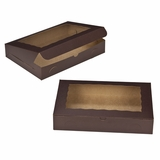 "3240 - 14"" x 10"" x 2 1/2"" Chocolate/Brown with Window, Lock & Tab Box"