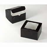 "3231 - 7"" x 7"" x 4"" Black/White with Window, Lock & Tab Box With Lid"