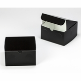 "3298 - 7"" x 7"" x 4"" Black/White without Window, Lock & Tab Box with Lid"