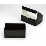 "3299 - 10"" x 7"" x 4"" Black/White without Window, Lock & Tab Box With Lid"