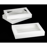 "296x295 - 26"" x 18"" x 4"" White/White Lock & Tab Box Set, with Window 50 COUNT"