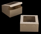"3257 - 10"" x 10"" x 5"" Brown/Brown with Window, Lock & Tab Box With Lid"