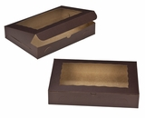 "3240 - 14"" x 10"" x 2 1/2"" Chocolate/Brown with Window, Lock & Tab Box. A22"