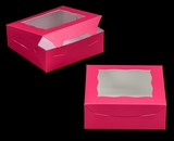 "3272 - 7"" x 7"" x 2 1/2"" Pink/White with Window, Lock & Tab Box with Lid"