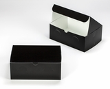 "3299 - 10"" x 7"" x 4"" Black/White without Window, Lock & Tab Box With Lid. A25"