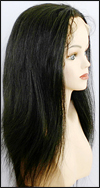 Glueless Lace Front Wig, virgin Brazilian remy hair wig, style WNGL-Straight-1B-18, custom