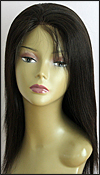 Glueless Lace Front Wig, Indian Remy hair wig, style WNGL-Yaki-Straight-1B-18, Custom