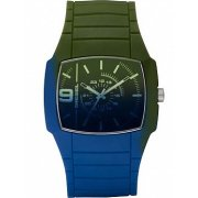 Diesel Unisex Blue and Green Silicone Strap Watch DZ1423