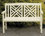 Fretwork Bench - Antique Ivory